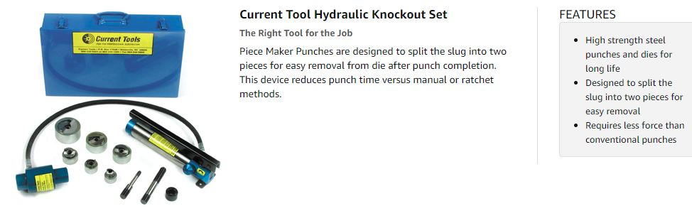 Current tools hydraulic knockout set 1