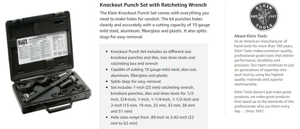 Klein tools punch set